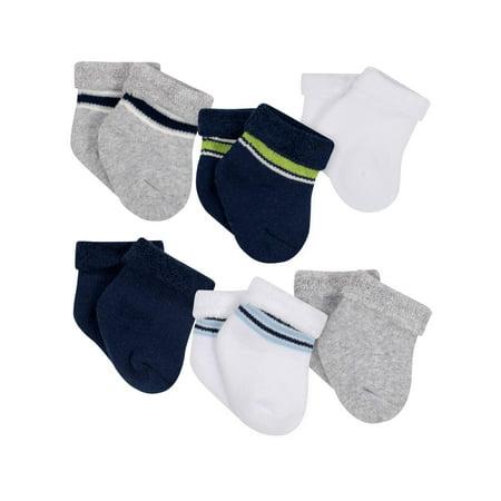 Gerber Terry Bootie Wiggle Proof Socks, 6-Pack (Baby Boys) - Baby Bowties