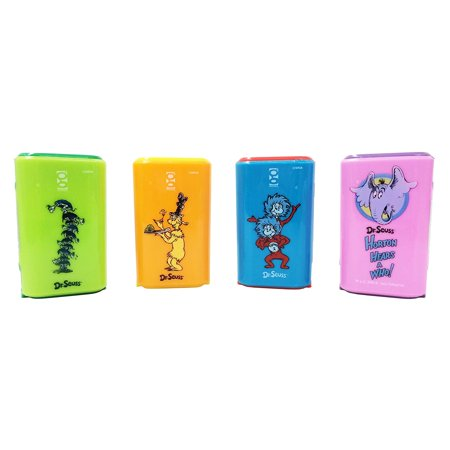 Dr. Seuss Sharpeners w/ Hidden Eraser Set of 4 (The Cat In The Hat, Yertle the Turtle, Green Eggs and Ham, Horton Hears A Who!), Assorted color:.., By Geddes Ship - Green Eggs And Ham Halloween Costume