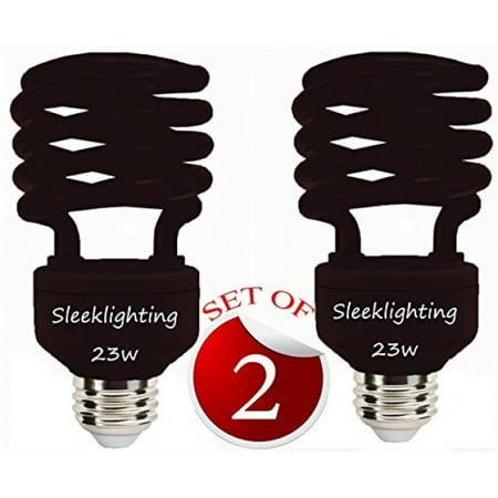 SleekLighting 23 Watt T2 BLACK Light Spiral CFL Light Bulb, 120V, E26 Medium Base-Energy Saver