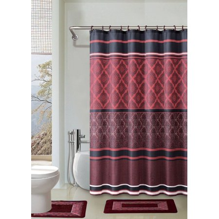 15pc red crimson bathroom set printed banded rubber backing rug bath mats with fabric shower. Black Bedroom Furniture Sets. Home Design Ideas