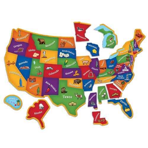 Learning Essentials Magnetic U.S. Map Puzzle: 44 Pcs by LEARNING RESOURCES