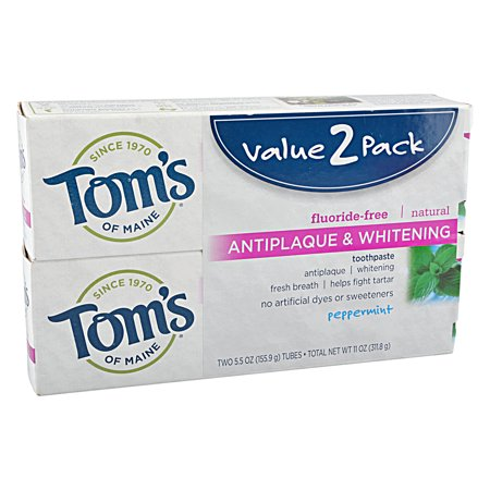 Tom's of Maine Natural Toothpaste Peppermint Antiplaque & Whitening, 2 ct ()
