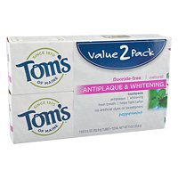 Tom's of Maine Natural Toothpaste Peppermint Antiplaque & Whitening, 2 ct