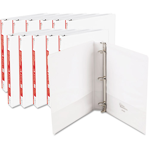 "Office Impressions Round-Ring Vinyl View Binders, White, 1"", 12-Pack"