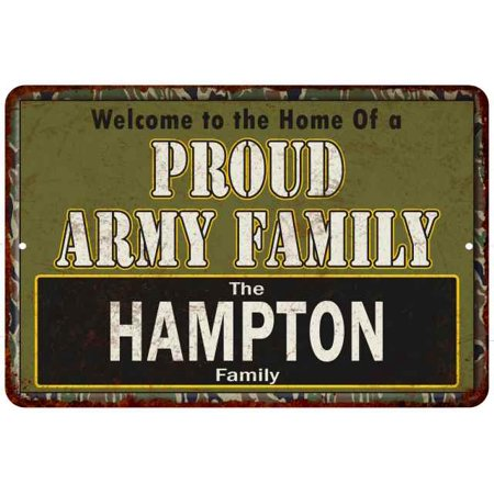 Hampton Proud Army Family Personalized Gift 8x12 Metal Sign 108120023451
