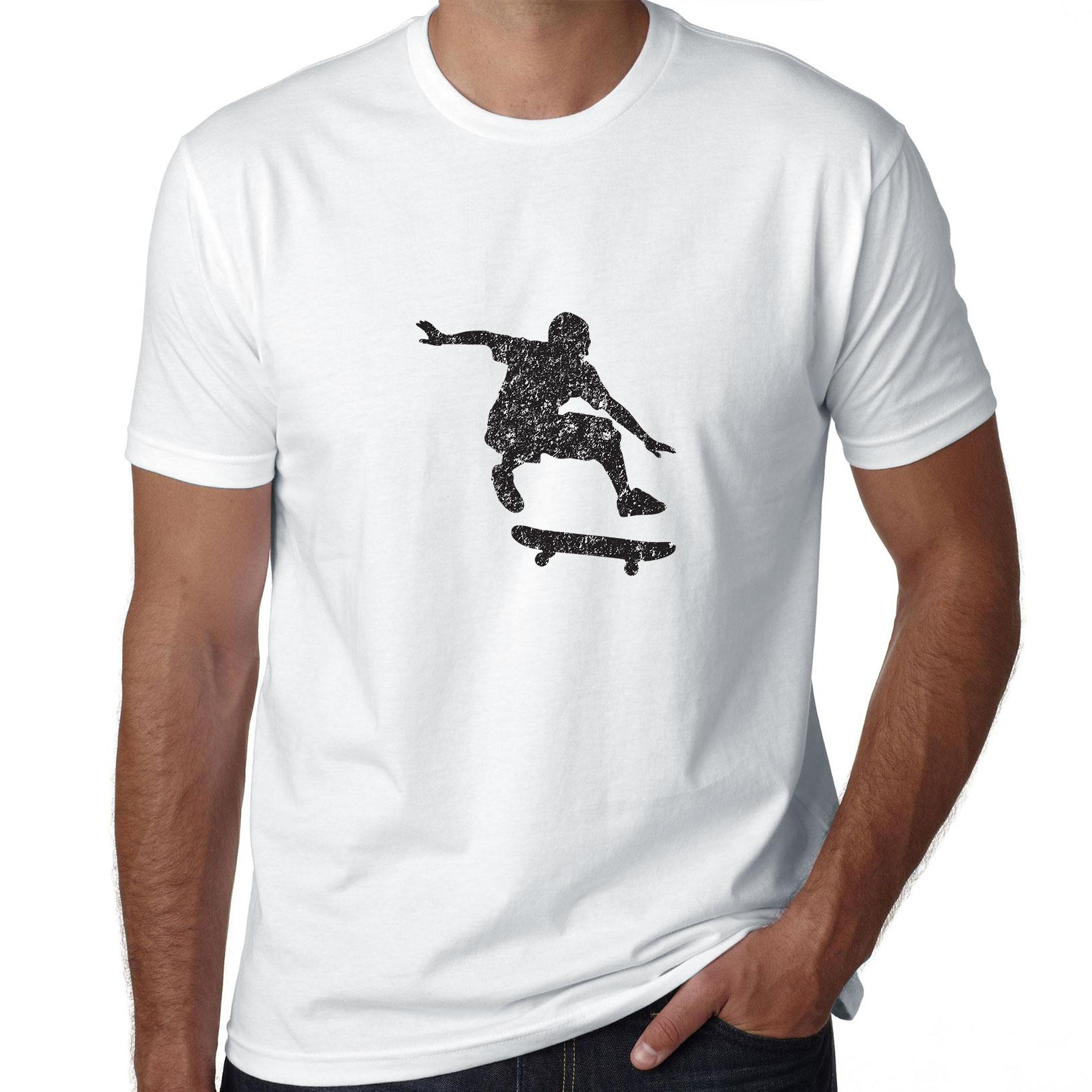 Trendy Skater Silhouette Doing Ollie Skateboard Trick Men's T-Shirt
