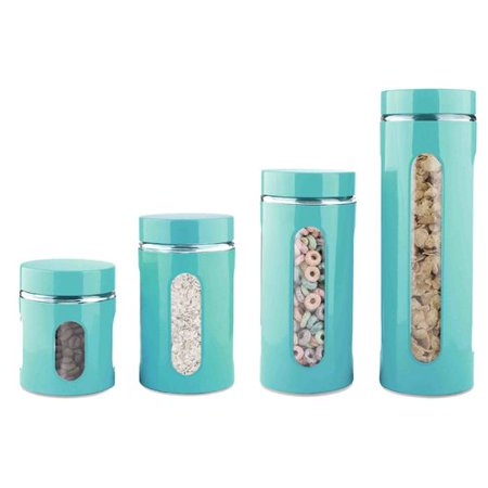 Kitchen Canisters Walmart | Home Basics Glass Stainless Steel 4 Piece Kitchen Canister Set
