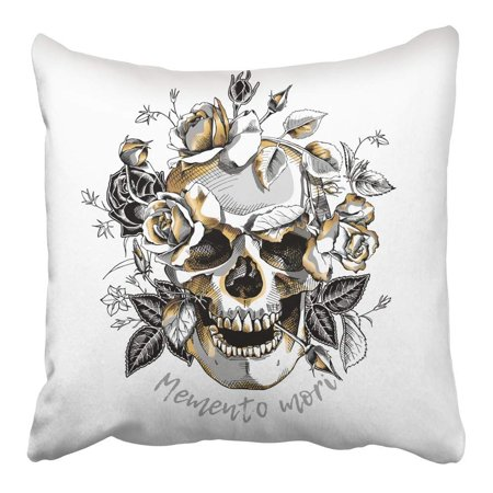 Rose Gold Leaf (ARHOME Silver Halloween Skull with Gold Roses Flowers on White Drawing Head Hand Leaf Pillowcase Cushion Cover 16x16 inch)