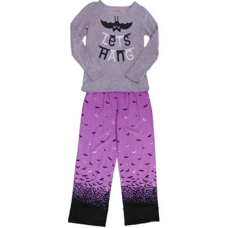 Girls Gray & Purple Lets Hang Pajamas Lightweight Halloween Bat Sleep Set