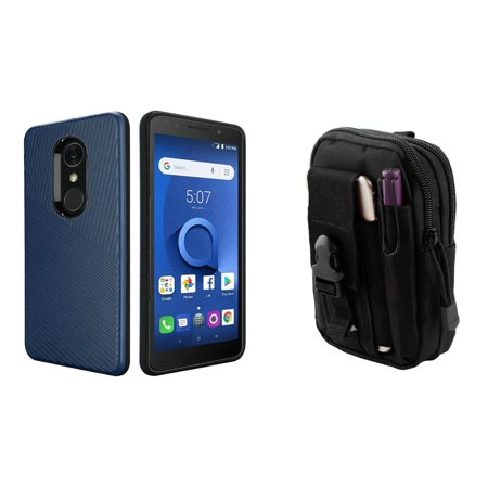 HR Textured Lines Hybrid Case (Navy Blue) with Tactical EDC MOLLE Belt Bag Pouch and Atom Cloth for Alcatel -