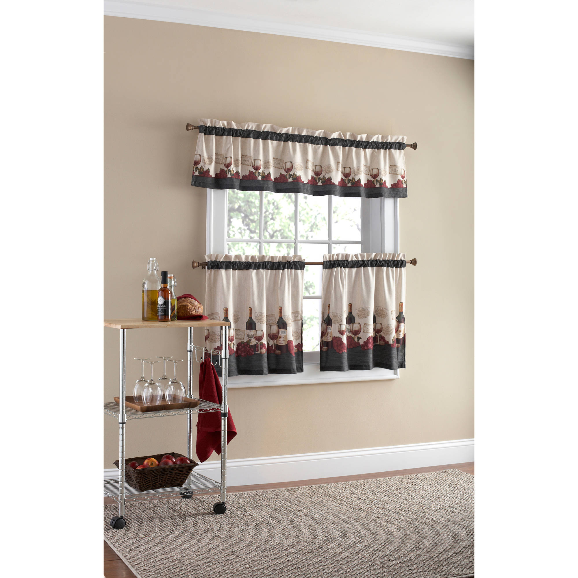 mainstays vineyard 3-piece kitchen curtain set - walmart
