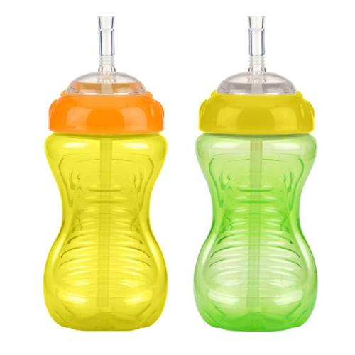 Nuby 10 oz  No-Spill Cup with Flexi Straw - 2 Pack (Green/Yellow)