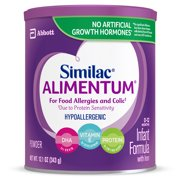 Similac Alimentum Hypoallergenic Baby Formula For Food Allergies and Colic, Powder, 6 Count Powder, 12.1-oz Can