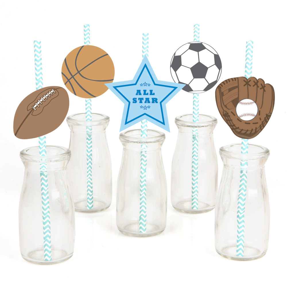 All Star Sports - Paper Straw Decor - Baby Shower or Birthday Party Striped Decorative Straws - Set of 24