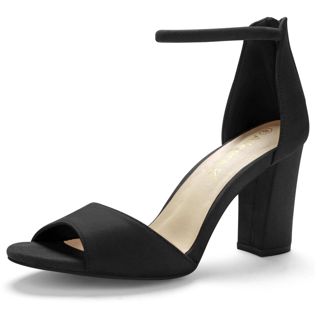 Back Zipper Block Heel Strap Sandals