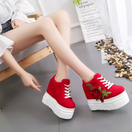 Meigar Women Casual Shoes Lace High Platform Sneakers Shoes - image 3 of 5