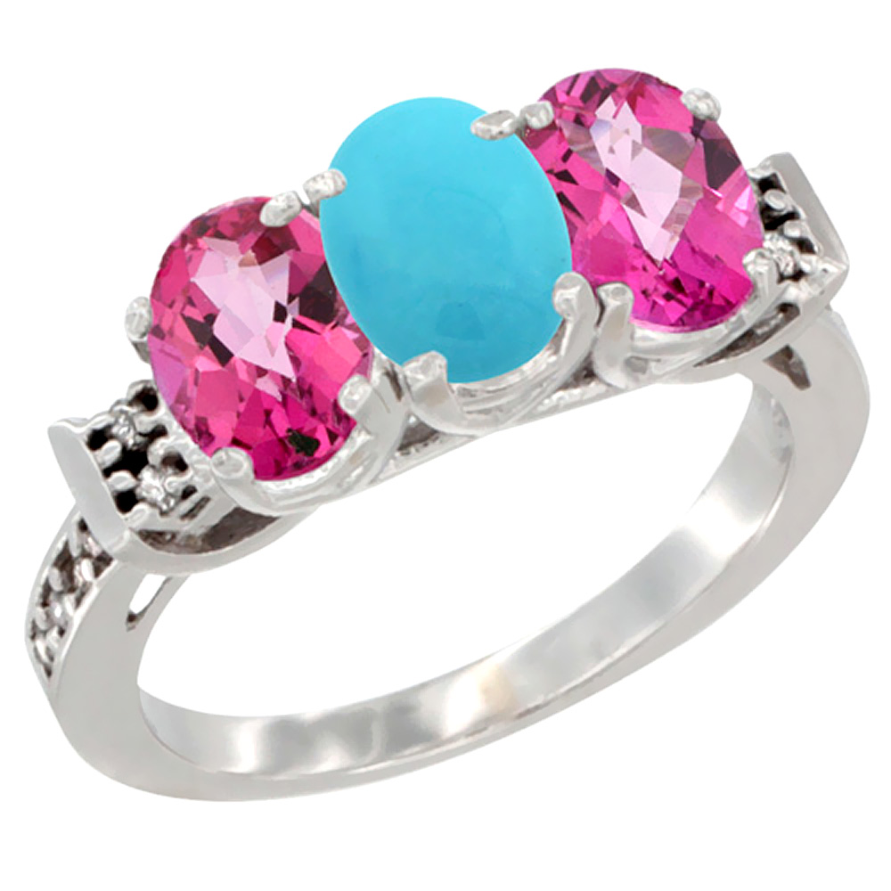 14K White Gold Natural Turquoise & Pink Topaz Sides Ring 3-Stone Oval 7x5 mm Diamond Accent, sizes 5 10 by WorldJewels
