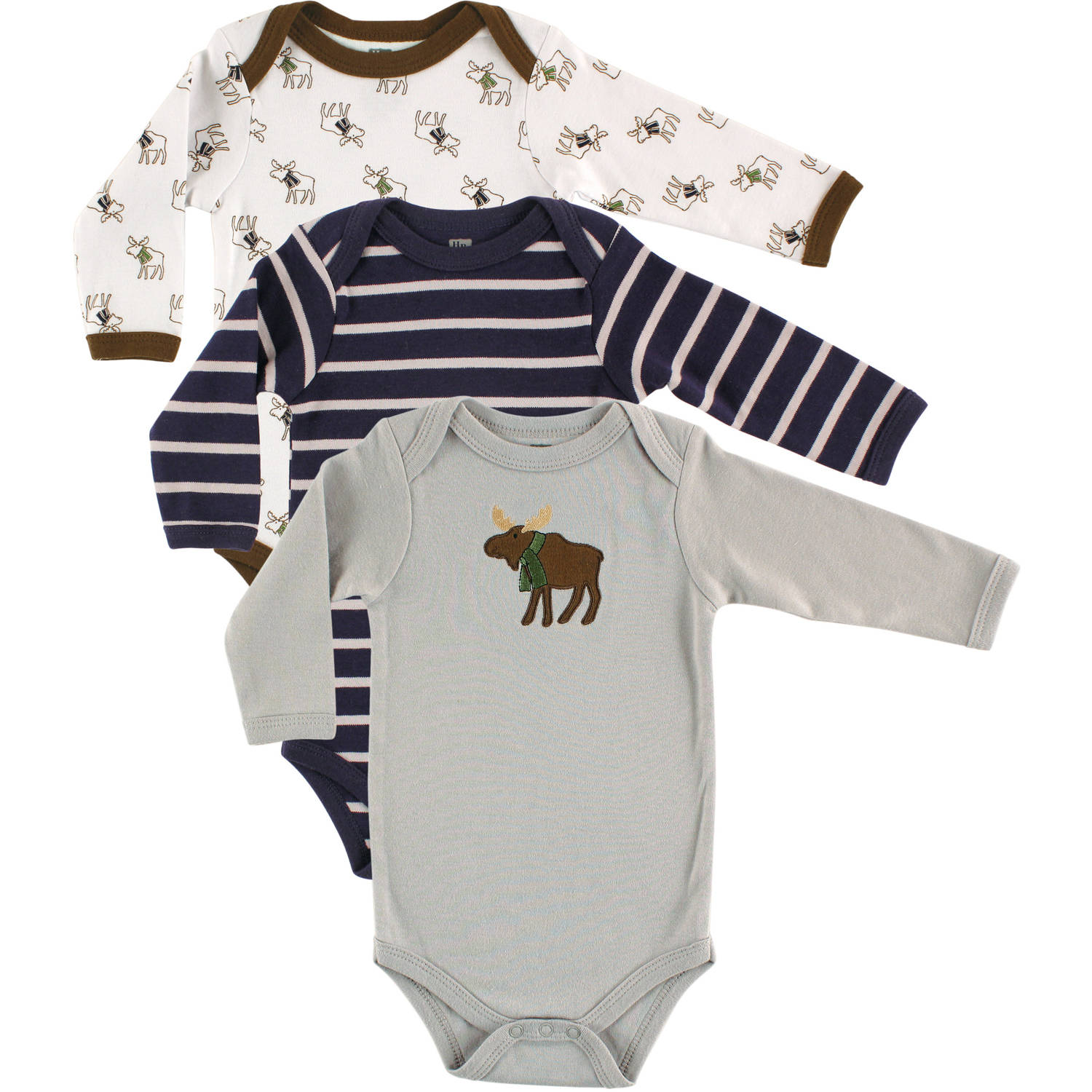 Hudson Baby Newborn Baby Boys Bodysuit Long Sleeve 3-Pack - Moose