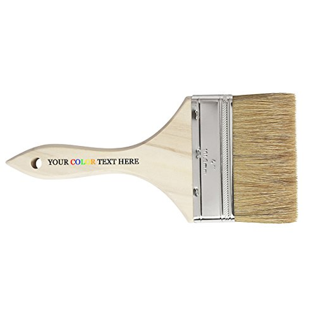 Customized Custom Personalized Printed in Full Color Natural Bristle Flat Chip Paint Brush