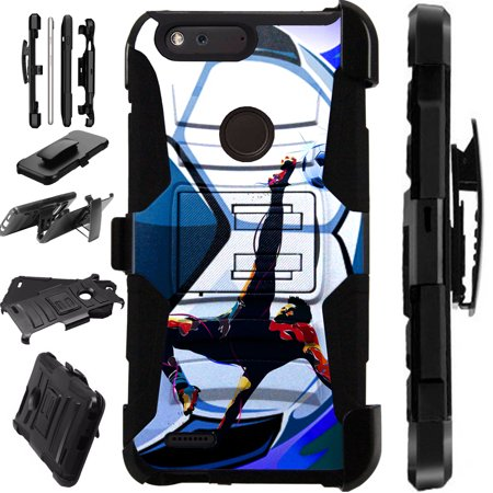 For ZTE Blade X Case Hybrid Phone Cover LuxGuard Holster (Soccer Bicycle Kick) ()