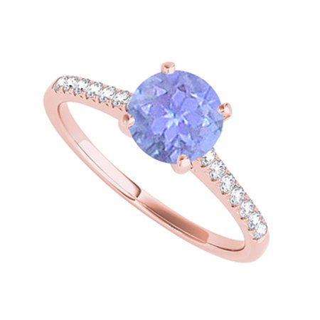 Rose Gold Vermeil Ring with Round Tanzanite and CZ - image 1 of 2