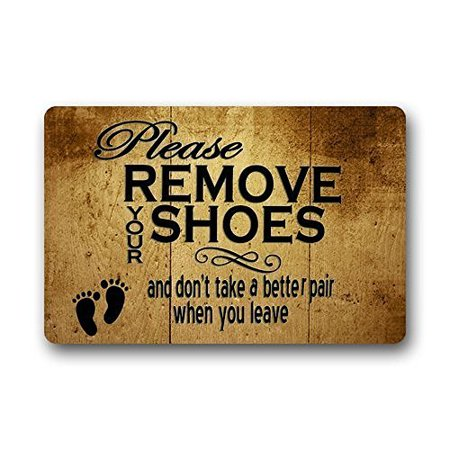 Chart Making Words Mat - WinHome Funny Words Please Remove Your Shoes Doormat Floor Mats Rugs Outdoors/Indoor Doormat Size 23.6x15.7 inches