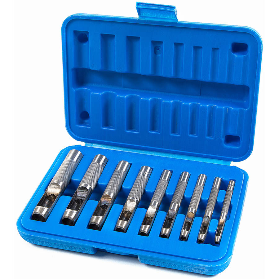 Presa Hollow Punch Tool Kit for Metal and More, 9 Piece