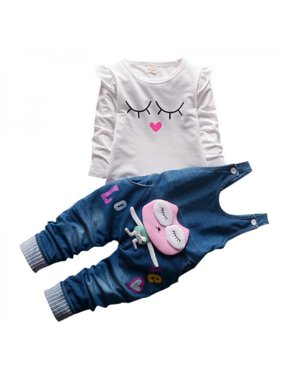 60d8a39bb Product Image Autumn Girls  Denim Bib Jeans pants Denim Set
