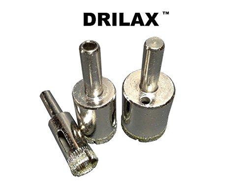 Drilax 3 Pcs Diamond Tipped Drill Bit Set 1 2 inch 3 4 inch , 1 inch Wet Cutting Drilling... by DRILAX