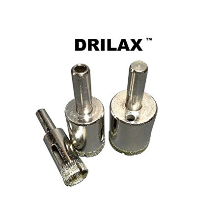 Drilax 3 Pcs Diamond Tipped Drill Bit Set 1 2 Inch  3 4 Inch   1 Inch    Wet Cutting Drilling Tiles  Glass  Fish Tanks  Marble  Granite  Ceramic  Porcelain  Bottles  Quartz Sinks  Diamond Coated Core