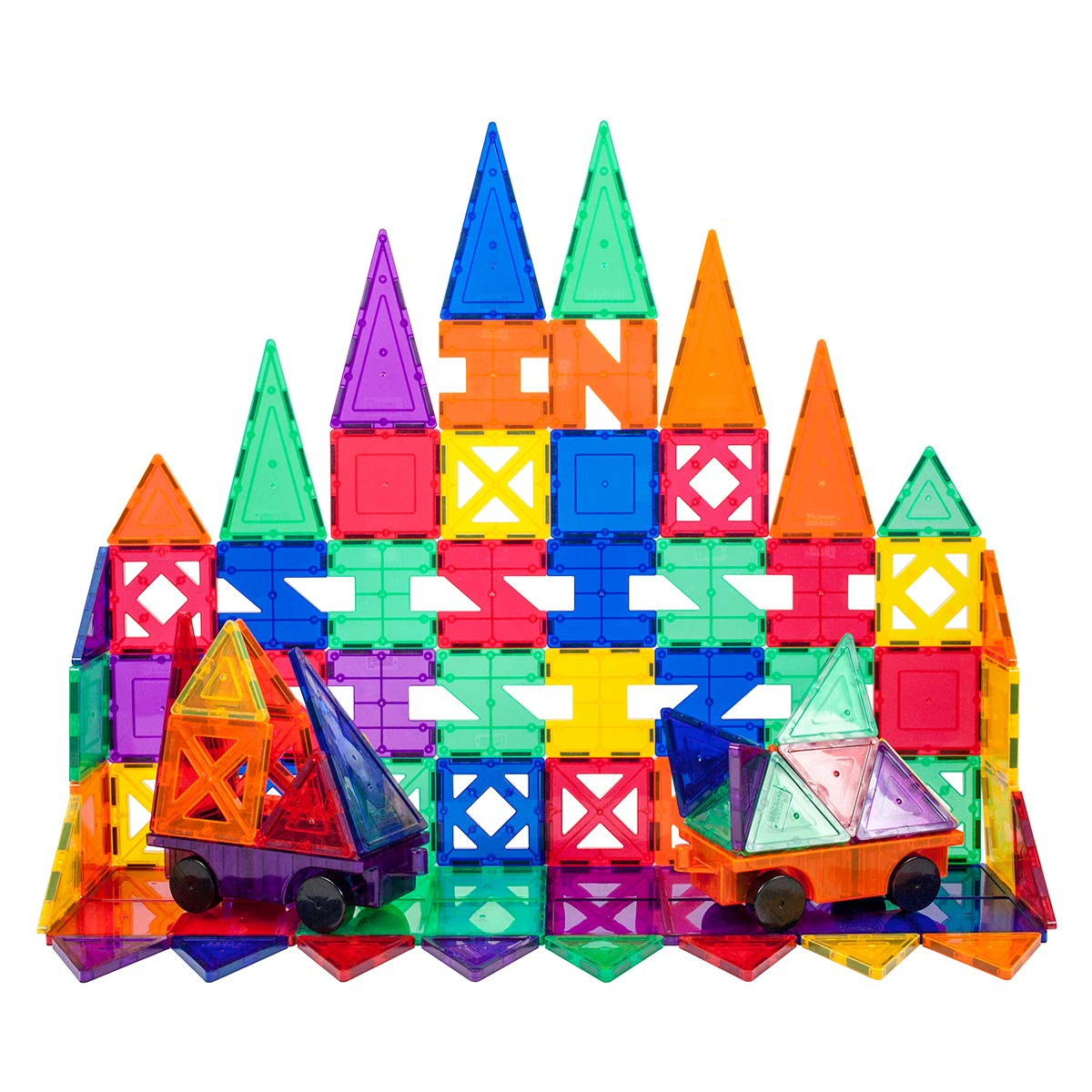 PicassoTiles Creativity 82 Piece Set Magnet Building Tiles Clear Color Magnetic 3D Building Block by Picasso Tiles