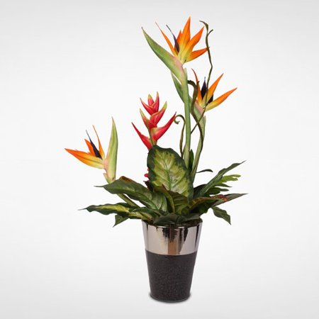 Bayou Breeze Silk Bird of Paradise with Ginger and Heliconia Floral Arrangement in Vase