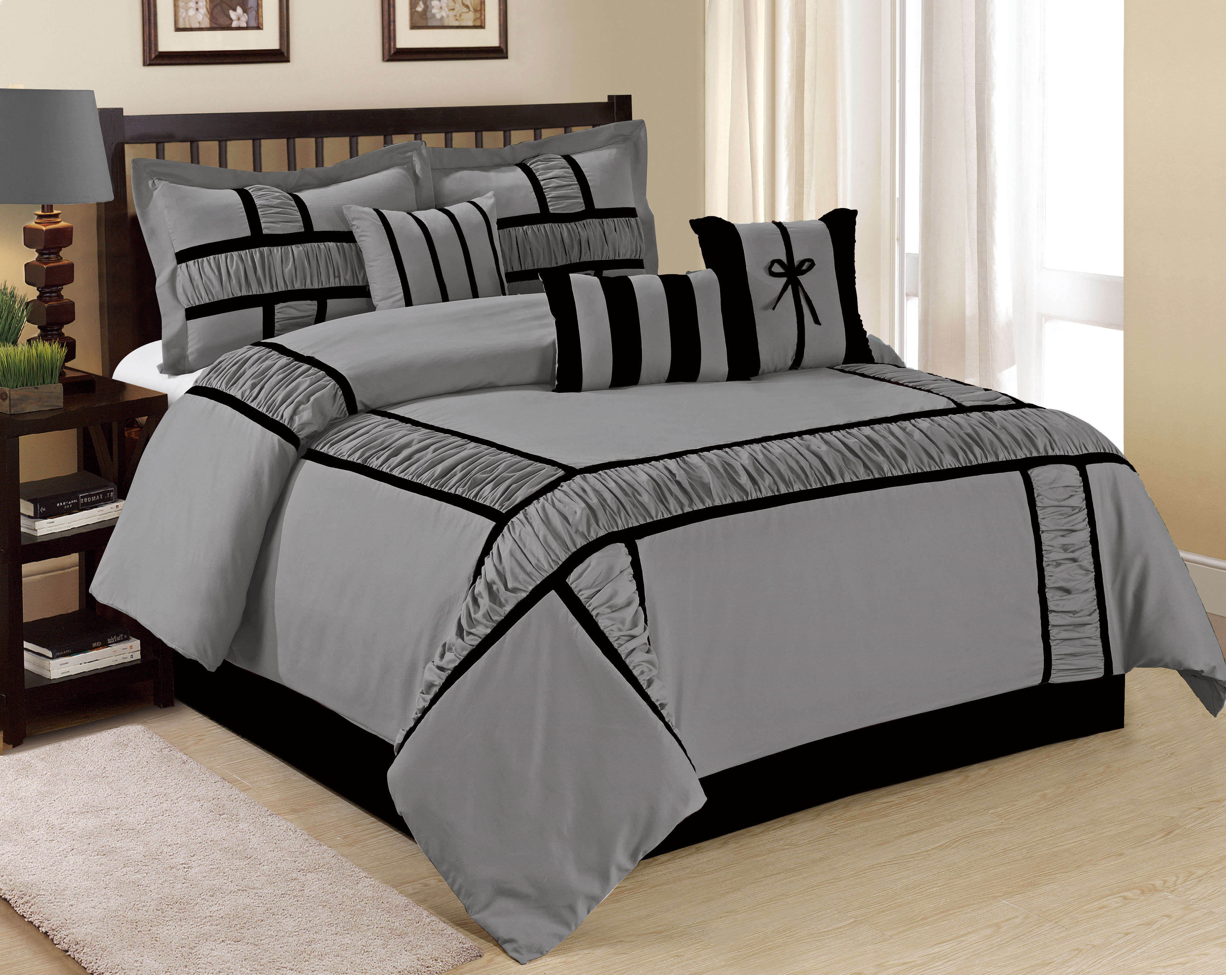 Wt 7 Piece Pieced Ruched Comforter Set Gray Color Size