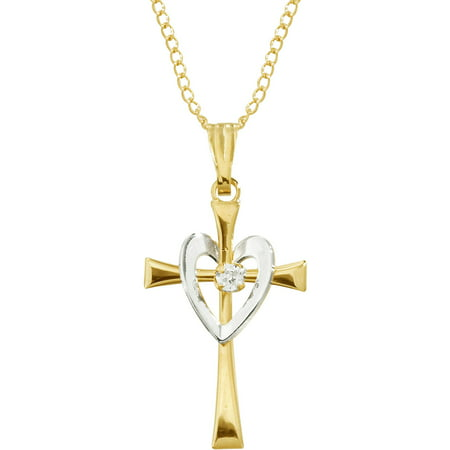 Brilliance Fine Jewelry 14K Yellow Gold-Filled, Rhodium-Plated Cross Heart Pendant with 1.0 CTTW CZ Accent, 18