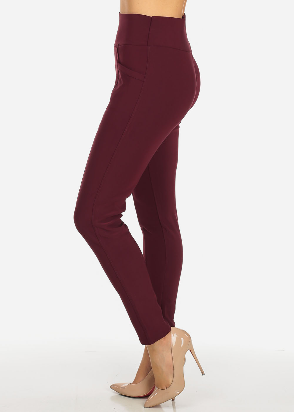 Womens Juniors One Size High Waist Stretchy Pull On Burgundy Skinny Pants 41011H