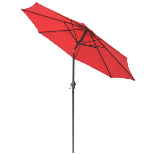 International Concepts Market Umbrella, 9', Steel Pole, Autumn Red/Brown
