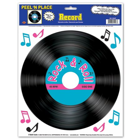 Club Pack of 108 Black, Pink and Turquoise Rock and Roll Record Peel 'N Place Party Decorations 15