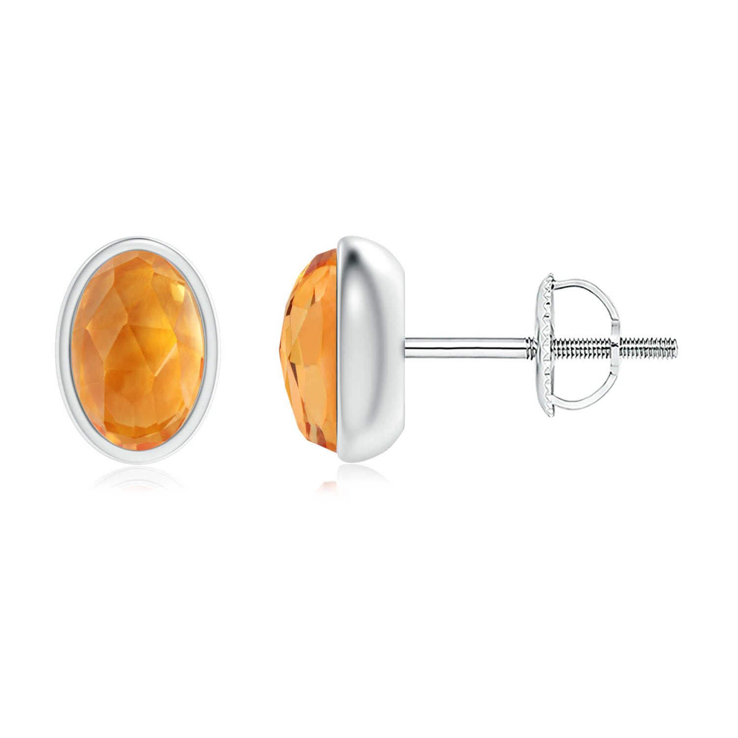 Mother's Day Jewelry Bezel Set Oval Citrine Solitaire Stud Earrings in .925 Sterling Silver SE1502CT-SL-AAA-6x4 by Angara.com