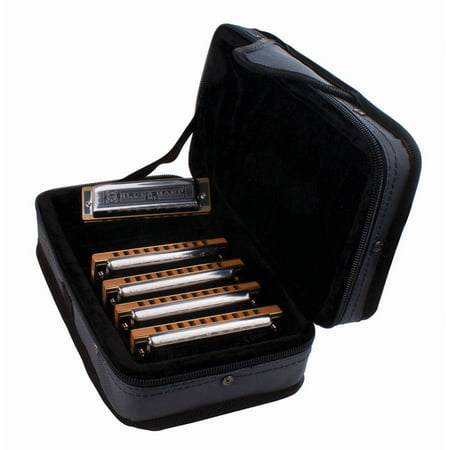 Hohner Case of Blues 5 Harmonica Bundle, Keys of G, A, C, D and -