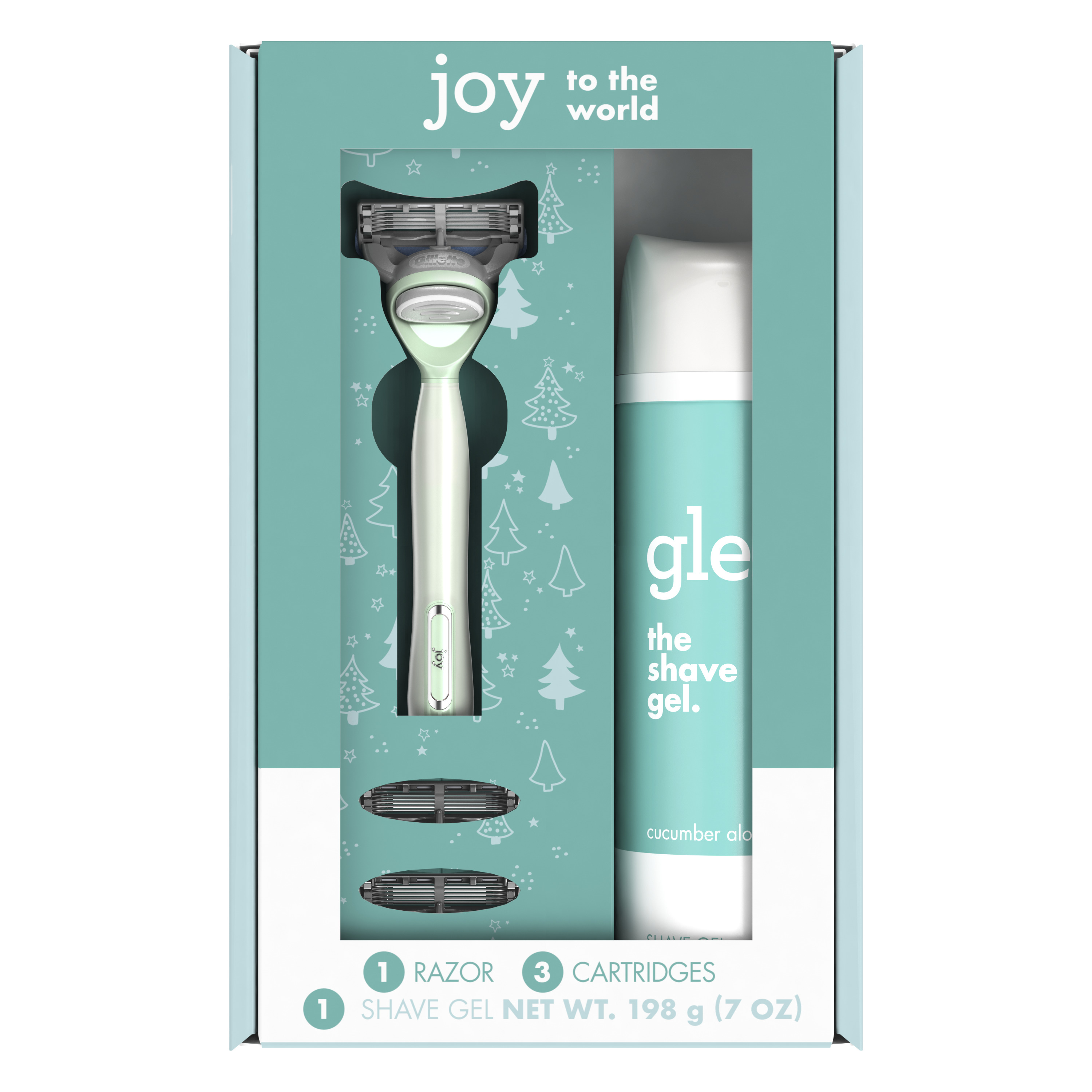 joy Teal Holiday Gift Set including 1 Handle, 3 Refills and a Shave Gel