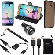Galaxy S6 Edge Plus Case, DigitalsOnDemand ® 9-Item Accessory Kit for Samsung S6 Edge Plus - Hard Cover, Black Leather Case, Screen Protector, Stylus, USB 2.0 Cable, Car Charger, OTG, AUX, Travel Bag
