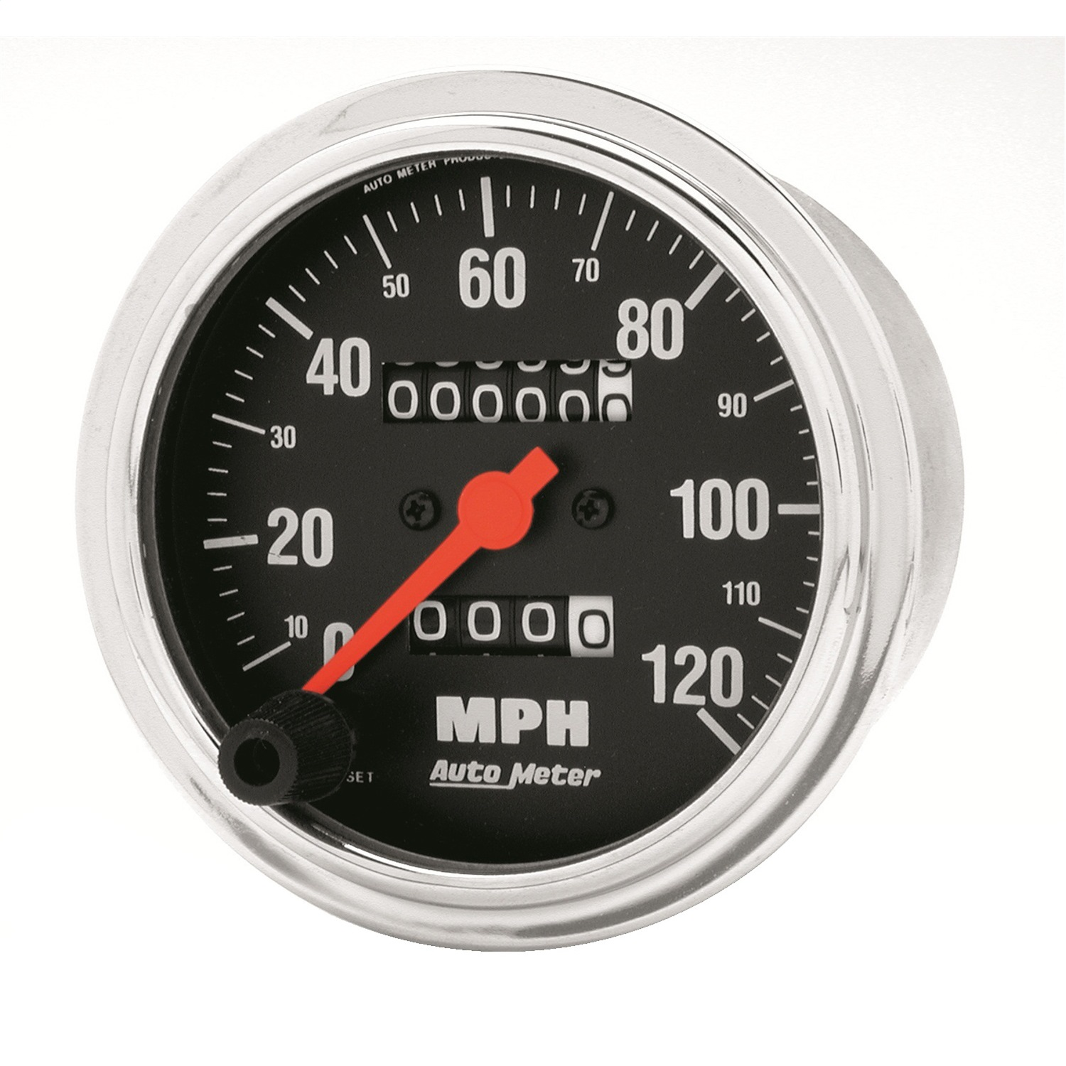"""AutoMeter GAUGE, SPEEDOMETER, 3 3/8"""", 120MPH, MECHANICAL, TRADITIONAL CHROME"""