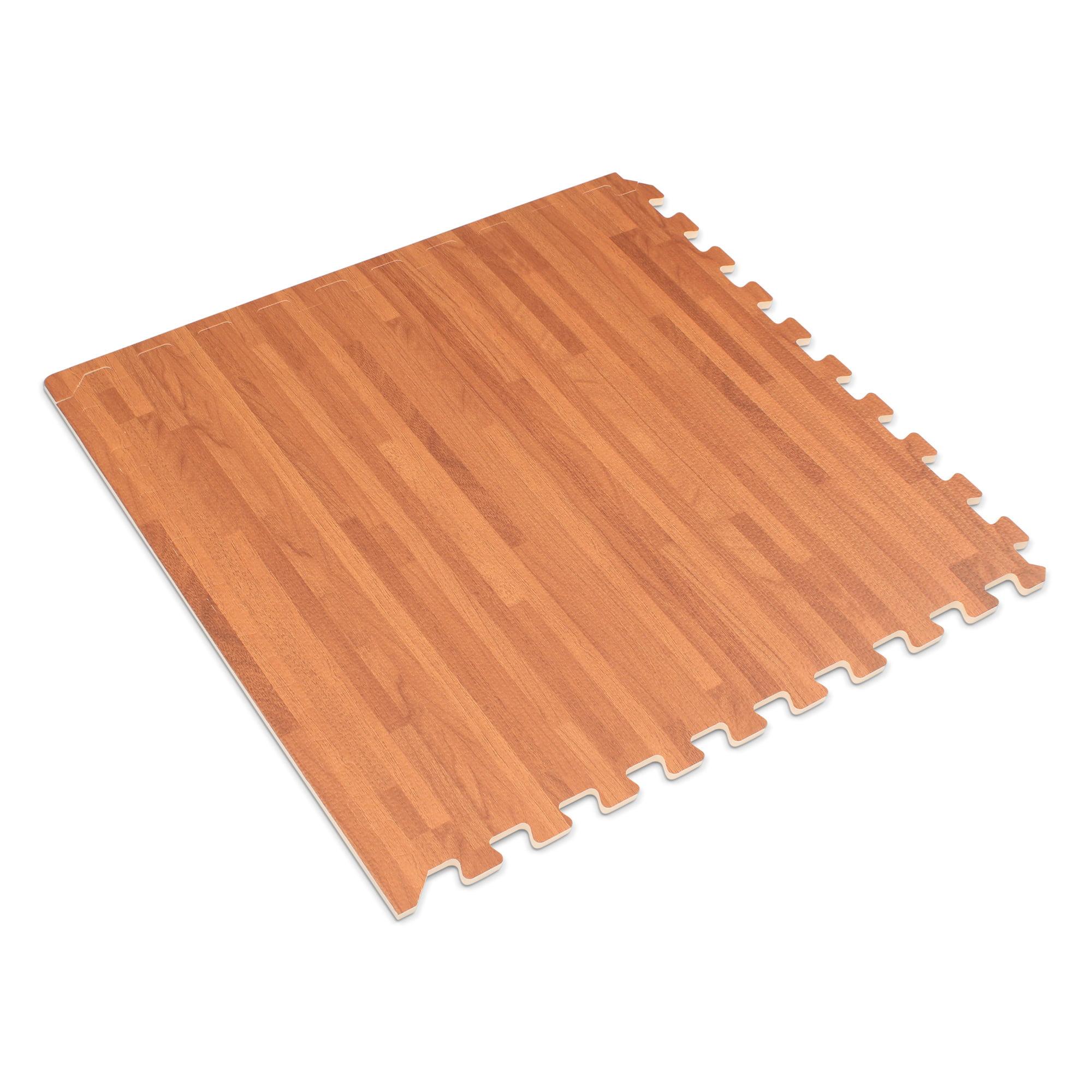 "Forest Floor 3/8"" Thick Printed Wood Grain Interlocking Foam Floor Mats, 100 Sq Ft (25 Tiles), Light Bamboo"
