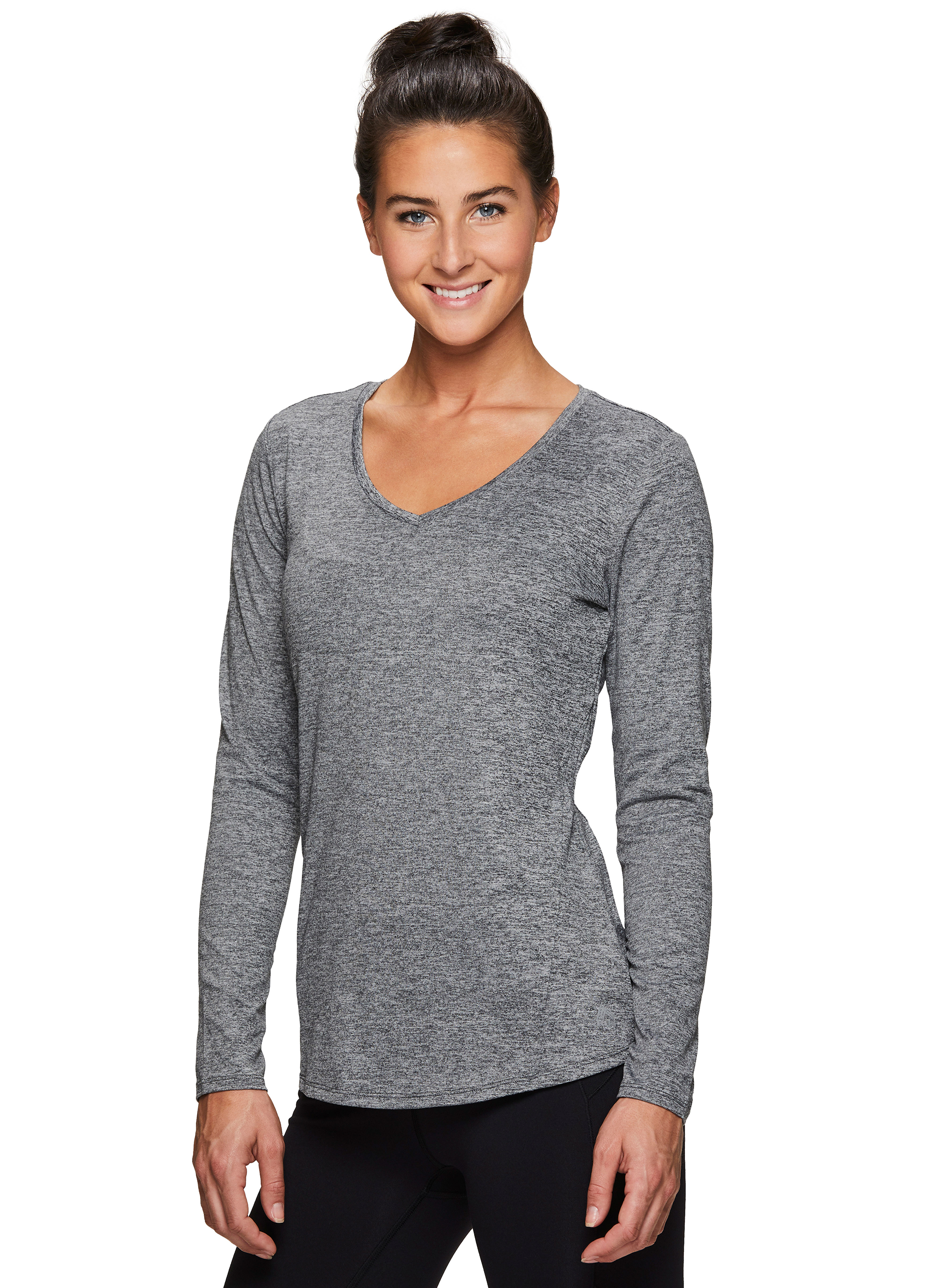 RBX Active Womens Long Sleeve Super Soft Space Dye Workout Running Tee Shirt