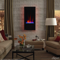 """Clevr Vertical Wall Mount 32"""" Adjustable Electric Fireplace Heater, with Multicolor Backlight & Remote, 750-1500W, Black"""