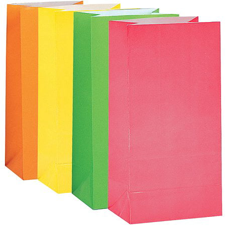(3 Pack) Paper Luminary & Party Bags, 10 x 5 in, Neon, 10ct - Personalized Party Bags