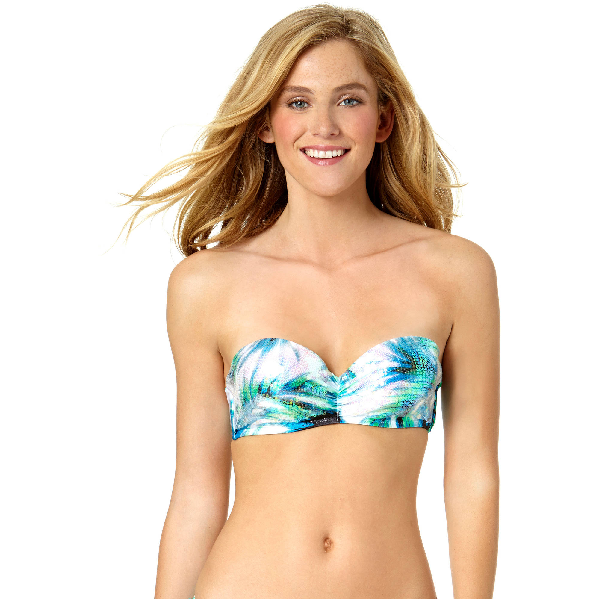Tahiti Women's Sequin Underwire Push Up Bandeau Bikini Top