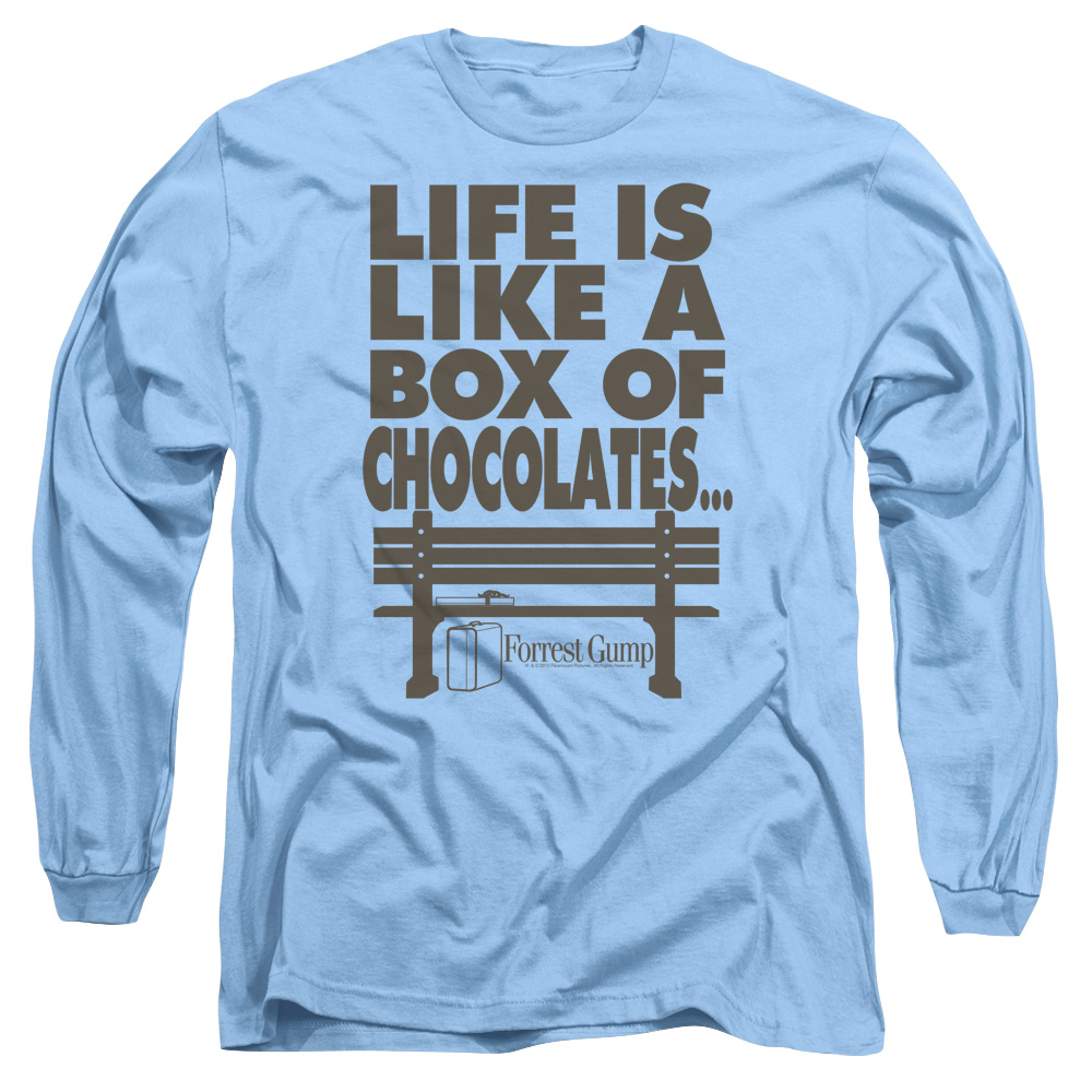 Forrest Gump Romance Comedy Drama Movie Box of Chocolates Adult L-Sleeve T-Shirt