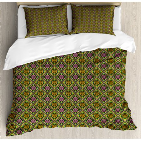 Ethnic Duvet Cover Set Queen Size, Lively Colored Rhombus-shape Pattern with Geometric Petals in Symmetrical Order, 3 Piece Bedding Set with 2 Pillow Shams, Multicolor, by Ambesonne