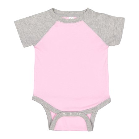 A Product of Rabbit Skins Infant Baseball Fine Jersey Bodysuit - PINK/ VIN  HTHR - 24MOS [Saving and Discount on bulk, Code Christo]